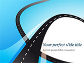 Business Concepts: Uphill Winding Road on Blue Background PowerPoint Template #15135