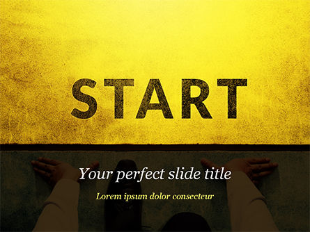 Businessman Standing in Start Position PowerPoint Template, 15145, Business Concepts — PoweredTemplate.com