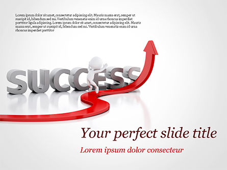 Business Concepts: Concept of success and 3D Man PowerPoint Template #15147