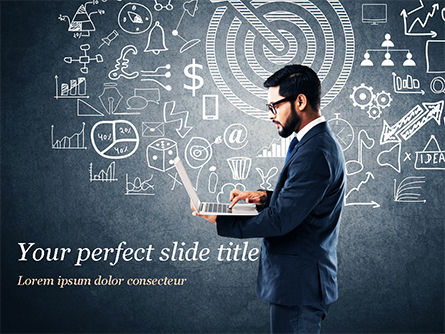 Man at the Blackboard with Business Icons PowerPoint Template, 15159, Business Concepts — PoweredTemplate.com