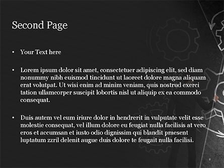 Man at the Chalkboard with Cogwheel Sketch PowerPoint Template, Slide 2, 15166, Business Concepts — PoweredTemplate.com