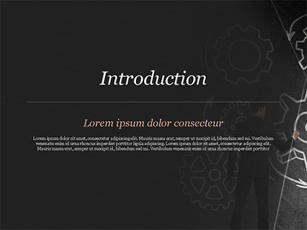Man at the Chalkboard with Cogwheel Sketch PowerPoint Template, Slide 3, 15166, Business Concepts — PoweredTemplate.com