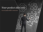 Business Concepts: Man at the Chalkboard with Cogwheel Sketch PowerPoint Template #15166