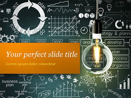 Business Concepts: Light Bulb and Blackboard with Formulas PowerPoint Template #15167