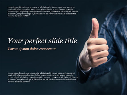 Man Shows Thumb Up PowerPoint Template, 15170, Business Concepts — PoweredTemplate.com