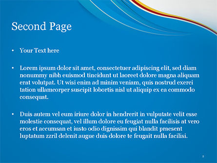 Abstract Blue Wave with Three-Colored Strip PowerPoint Template, Slide 2, 15177, Abstract/Textures — PoweredTemplate.com