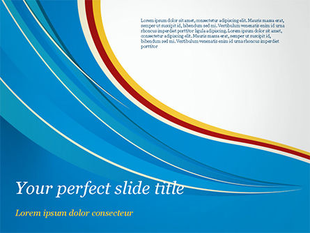 Abstract/Textures: Abstract Blue Wave with Three-Colored Strip PowerPoint Template #15177