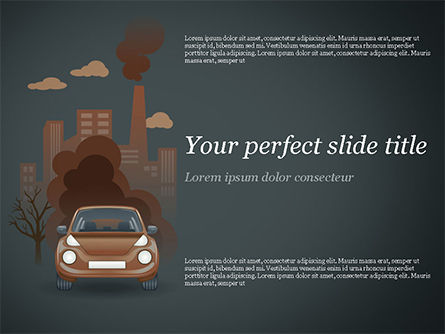 Automobile and Industrial Pollution PowerPoint Template, 15178, Nature & Environment — PoweredTemplate.com