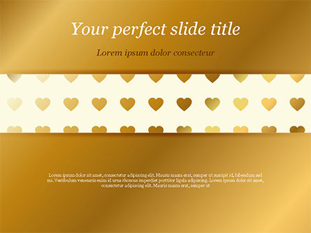 Holiday/Special Occasion: Background of Golden Hearts PowerPoint Template #15180