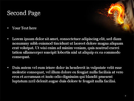 Flaming Question Mark PowerPoint Template, Slide 2, 15188, Business Concepts — PoweredTemplate.com