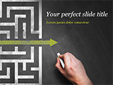 Business Concepts: A Hand Drawing Shortcut to Maze on Chalkboard PowerPoint Template #15194
