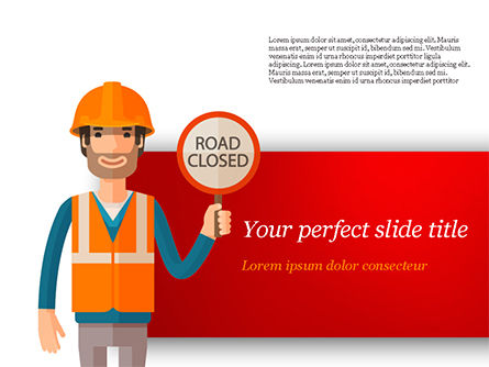 Man Holding Road Closed Sign PowerPoint Template, 15198, People — PoweredTemplate.com
