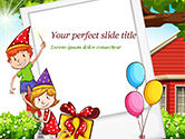 Holiday/Special Occasion: Children Having Birthday Party and Photo Frame PowerPoint Template #15202