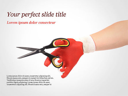 Hand In Glove Holding Scissors PowerPoint Template, 15203, Careers/Industry — PoweredTemplate.com