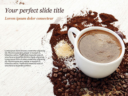 Food & Beverage: Coffee Cup and Coffee Beans PowerPoint Template #15204