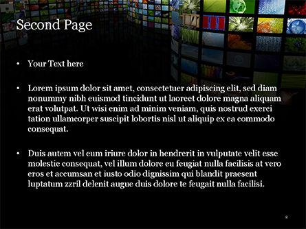 Curved Corridor with Screens PowerPoint Template, Slide 2, 15208, Art & Entertainment — PoweredTemplate.com