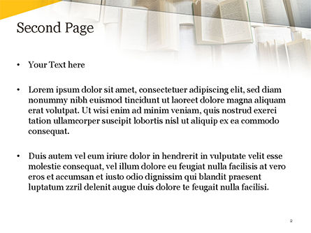 Open Books Piled up PowerPoint Template, Slide 2, 15209, Education & Training — PoweredTemplate.com