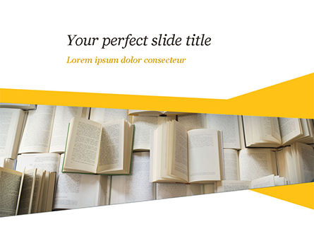 Education & Training: Open Books Piled up PowerPoint Template #15209