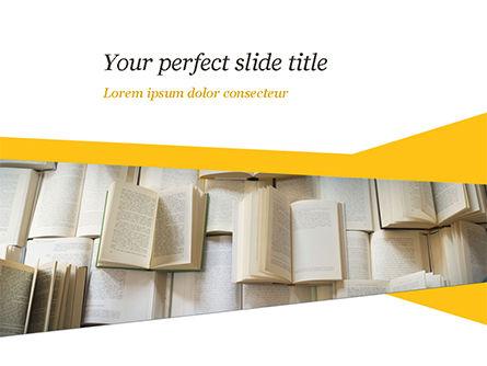 Open Books Piled up PowerPoint Template, 15209, Education & Training — PoweredTemplate.com