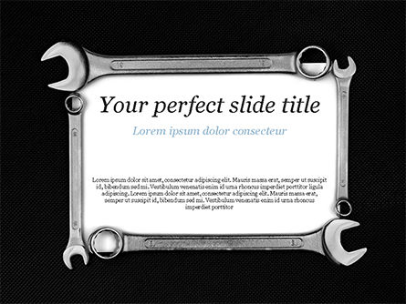 Blank Card with Wrenches PowerPoint Template, 15217, Careers/Industry — PoweredTemplate.com