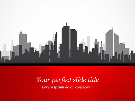Construction: Silhouet Van De Stad In Grijze Tinten PowerPoint Template #15220