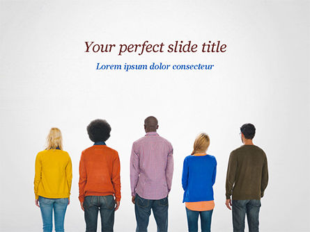 Rear View of Multi-Ethnic Group of People PowerPoint Template, 15221, People — PoweredTemplate.com