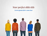 People: Rear View of Multi-Ethnic Group of People PowerPoint Template #15221