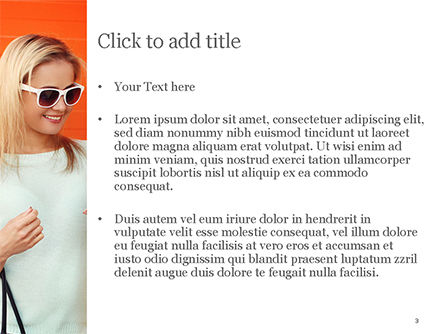 Pretty Smiling Woman with Smartphone PowerPoint Template, Slide 3, 15223, People — PoweredTemplate.com