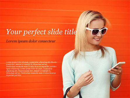People: Pretty Smiling Woman with Smartphone PowerPoint Template #15223