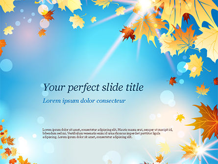 Beautiful Sunny Autumn PowerPoint Template, 15240, Nature & Environment — PoweredTemplate.com