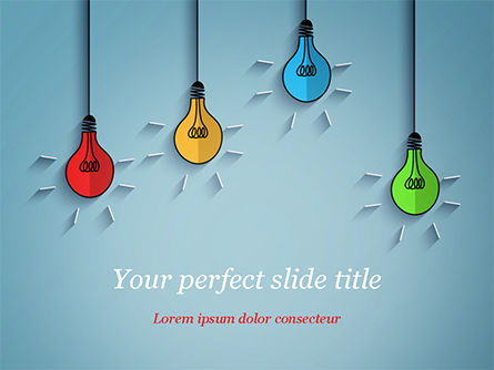 Colored Light Bulbs PowerPoint Template, 15246, Business Concepts — PoweredTemplate.com