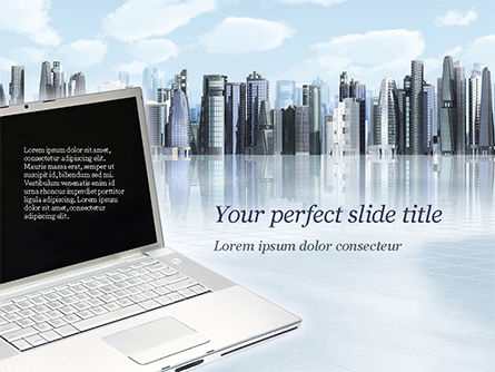 Computers: Laptop on Cityscape Background PowerPoint Template #15260