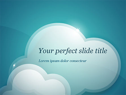Turquoise Sparkling Clouds PowerPoint Template, 15264, Nature & Environment — PoweredTemplate.com