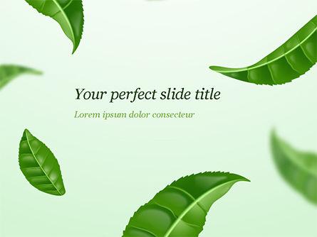 3D: Green Tea Leaves PowerPoint Template #15273