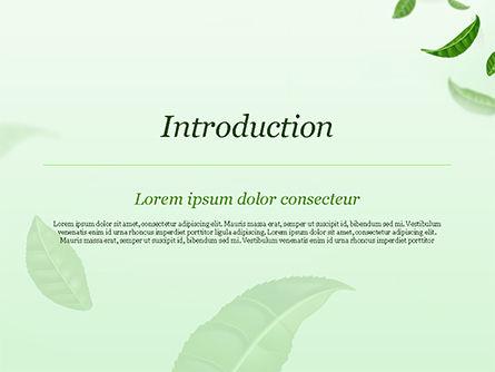 Green Tea Leaves PowerPoint Template, Slide 3, 15273, 3D — PoweredTemplate.com