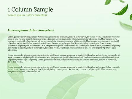 Green Tea Leaves PowerPoint Template, Slide 4, 15273, 3D — PoweredTemplate.com