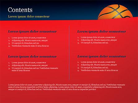 Basketball Ball on Blue Background PowerPoint Template, Slide 2, 15274, Sports — PoweredTemplate.com