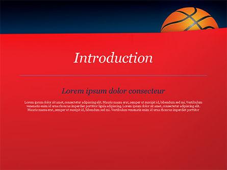 Basketball Ball on Blue Background PowerPoint Template, Slide 3, 15274, Sports — PoweredTemplate.com