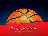 Sports: Basketball Ball on Blue Background PowerPoint Template #15274