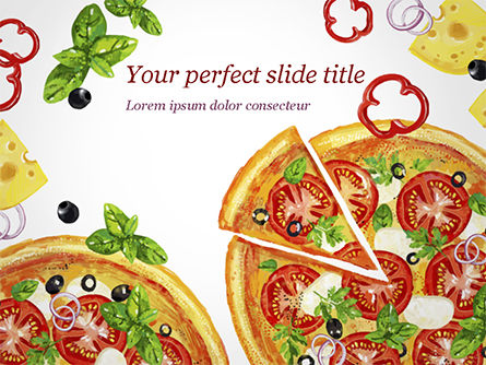Food & Beverage: Margarita Pizza PowerPoint Template #15286