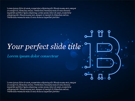 Digital Bitcoin Sign PowerPoint Template, 15300, Technology and Science — PoweredTemplate.com