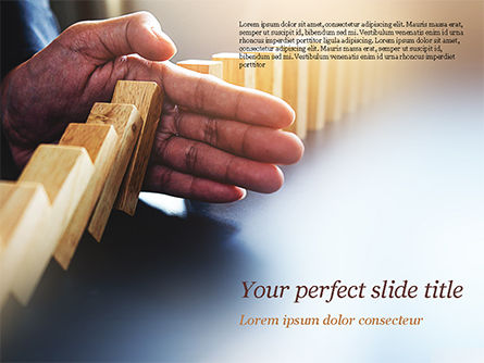 Business Concepts: Man Stops Domino Effect PowerPoint Template #15302
