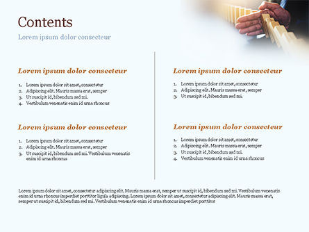 Man Stops Domino Effect PowerPoint Template, Slide 2, 15302, Business Concepts — PoweredTemplate.com