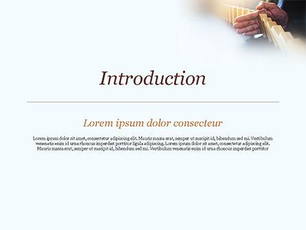 Man Stops Domino Effect PowerPoint Template, Slide 3, 15302, Business Concepts — PoweredTemplate.com