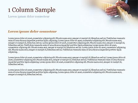 Man Stops Domino Effect PowerPoint Template, Slide 4, 15302, Business Concepts — PoweredTemplate.com