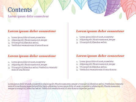 Cute Colored Leaves PowerPoint Template, Slide 2, 15307, Nature & Environment — PoweredTemplate.com