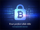 Technology and Science: Digital Bitcoin Symbol inside Secure Lock PowerPoint Template #15311