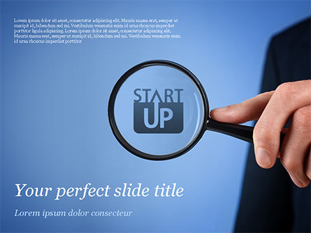 Business Concepts: Word Startup Under Magnifier PowerPoint Template #15314