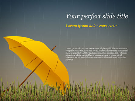 Bright Yellow Umbrella Powerpoint Template Backgrounds 15316