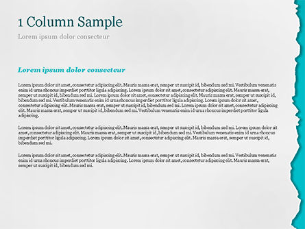 Torn Piece of White Paper on Azure Background PowerPoint Template, Slide 4, 15317, Abstract/Textures — PoweredTemplate.com